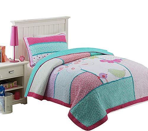 Brandream Kids Bedding Twin Size Bird Butterfly Patchwork Comforter Set Girls Quilt Set 100% Cotton 2PCS