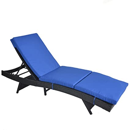 Outdoor Patio Black Rattan Wicker Adjustable Cushioned Chaise Lounge Chair(Royal  Blue Cushion)
