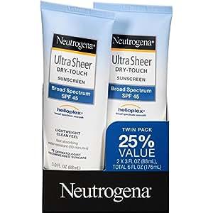 Neutrogena Ultra Sheer Dry-Touch Sunscreen Broad Spectrum SPF 45, 3 Fl. Oz, Pack of 2