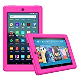 MoKo Case Fits All-New Amazon Fire 7 Tablet (9th Generation, 2019 Release), Honey Comb Pattern Ultra-Flexible Silicone Protective Lightweight Shockproof Impact-Resistant Back Cover Shell - Magenta