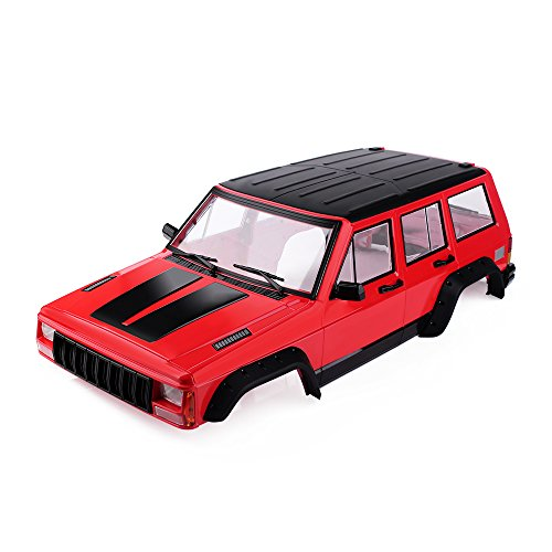 INJORA Red Painted Hard Plastic 12.3inch / 313mm Wheelbase Cherokee Body Car Shell for 1/10 RC Crawler Axial SCX10 & SCX10 II 90046 -