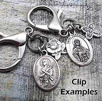 Clip or Necklace Catholic Jewelry Pio of Pietrelcina Keychain St Handcrafted with lOve! Padre Pio Confirmation Gift Patron Saint