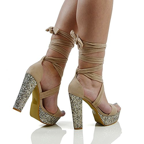 Lace Glam Up Suede Glitter Platform Essex Suede Womens Heel Up Faux Tie Faux Sandals Nude xUEFdqwf