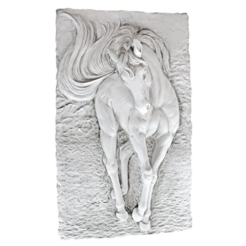 Sculpture Myers - Design Toscano Equine Grandeur Horse Wall Sculpture, 36 Inch, Polyresin, Antique Stone