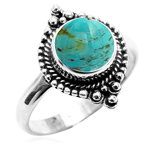 Made Genuine Turquoise Ring (Sterling Silver Jewelry 1.75ctw, Genuine Turquoise 8x8mm Round & .925 Silver Plated Handmade Fashion Ring (Size-7))