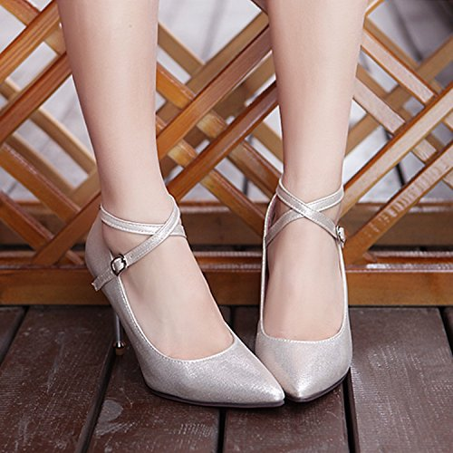 Synthetic Heel Stiletto Strappy Nonbrand Gold Ankle Women's Straps w1Atnf