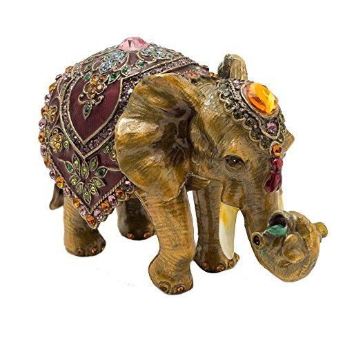 KALIFANO Elephant Keepsake Box with Purple Amethyst Swarovski Crystals