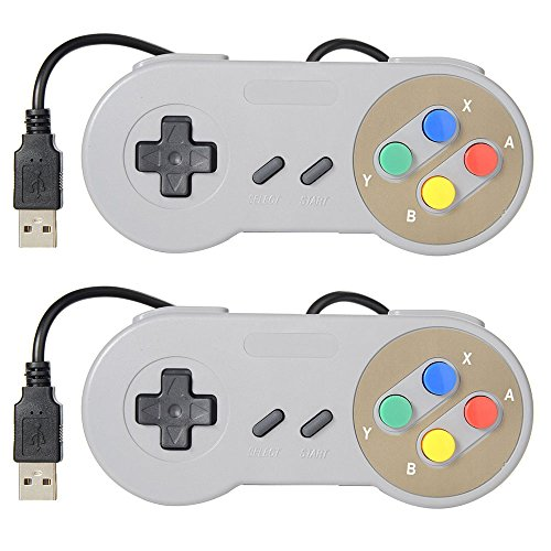 2 Pack USB Controller for Super Nintendo, SNES Retro Famicom Game Gaming Joypad Gamepad for Windows PC MAC Linux Android Raspberry Pi (Multicolored)
