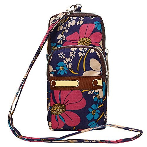 Wocharm Womens Mini 3 Layers Crossbody Shoulder Messenger Handbag Wristlet Purse Blue Flower #3