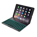 iPad Pro 10.5'' Keyboard Case,TechCode 7 Colors LED Backlit Wireless Bluetooth Keyboard Smart Stand Colorful Flip Keyboard Cover Slim Fit for iPad Pro 10.5 inch 2017 Tablet (iPad Pro 10.5, Balck)