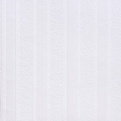 Brewster RD80011 Anaglypta Paintable 2-Inch Fibrous Stripe with Scroll Wallpaper, 21-Inch by 396-Inch, White