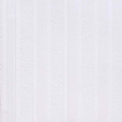 Scroll Stripe Wallpaper - Brewster RD80011 Anaglypta Paintable 2-Inch Fibrous Stripe with Scroll Wallpaper, 21-Inch by 396-Inch, White