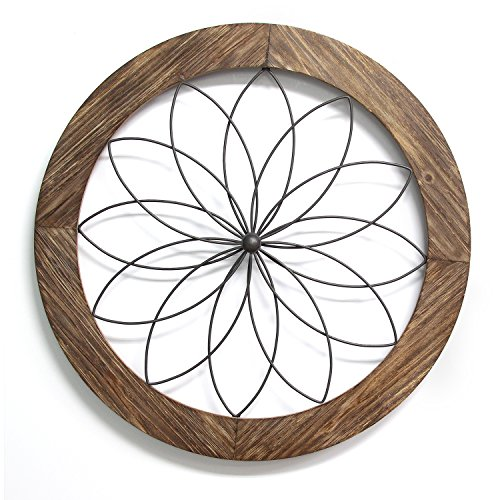 Stratton Home Décor S11570 Round Metal Medallion Wall Décor, 25.75 W X 1.75 D X 25.75 H, Natural Wood & Black (Decor Medallion Metal Wall)