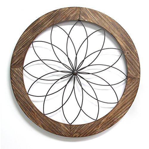 (Stratton Home Décor S11570 Round Metal Medallion Wall Décor, 25.75 W X 1.75 D X 25.75 H, Natural Wood & Black)