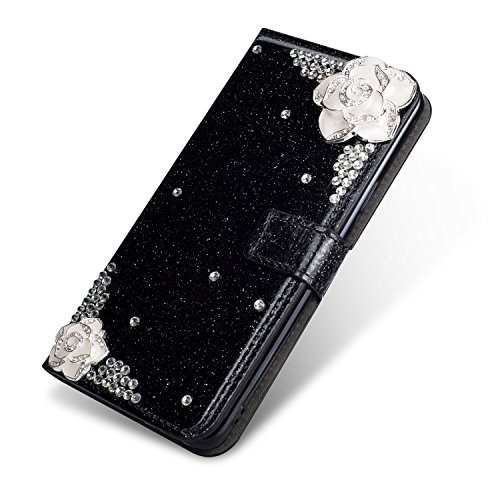 Black Diamond Electric Bass - Wallet Case for P20 Lite, SevenPanda Luxury Bling Bling Diamond Glitter Crystal Rhinstone 3D DIY Camellia Flower Premium Leather Magnetic Stand Cover for Huawei P20 Lite - Black