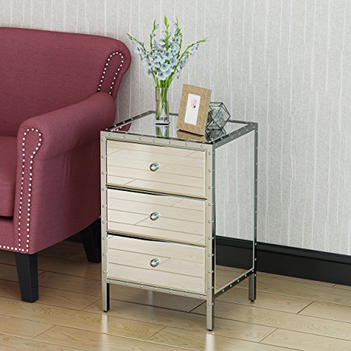 3 Drawer Mirrored Side Table, Small Mirrored Chest of Drawers, Stylish All-Glass Design