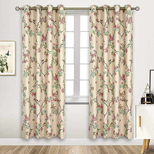 BGment Printed Blackout Curtains for Bedroom with Birds Floral Patterns - Grommet Thermal Insulated Room Darkening Vintage Curtains for Living Room, Set of 2 Panels (52 x 84 Inch, Beige)