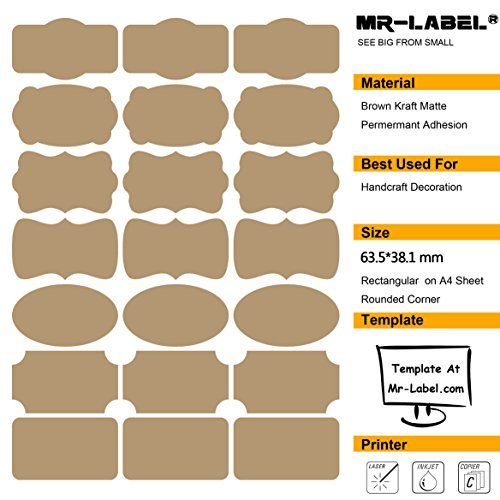 Mr-Label® 7 Types of Fancy Shape Brown Kraft Labels -Self Adhesive Stickers for Gift Decoration| Hand craft| Finishing Touch| Bottles (Size: 63.5*36.1mm, 20 sheets/Total 420pcs labels) - Hand Tags