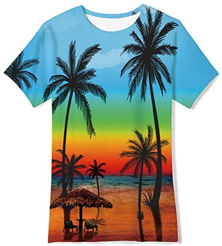 Size 10 FunnyTShirtsforGirls Boys Kids Hawaiian Fancy Graphic Short Sleeve School Seaside Tan Tee Tropical Sunset Stylish Brithday Gifts,Coconut Tree, Blue Orange Green