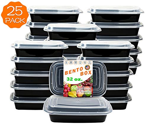 25-Pack [32 oz] 1-Compartment Food Container - Rectangular Meal Prep Bento with Lid - Portable Lunch Box - Stackable - BPA Free - Freezer/Microwave/Dishwasher Safe - Reusable Storage - USA Made