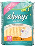 Always Always Ultra Thin Pads 38ct Overnight W/Flexi-Wings Unscented, 38.000 Count