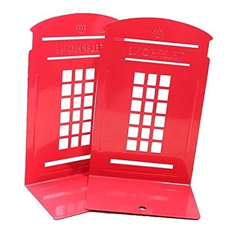Jungen leggio per libri Reggilibri in metallo per scrivania organizzazione Telephone Booth retro British Style 12.5x 9.5x 20cm 2-pack (blu scuro) 12.5x9.5x20CM Dark Blue