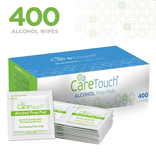 Care Touch Sterile Alcohol Prep Pads, Medium 2-Ply - 400 Alcohol Wipes (First Aid Disinfectant)