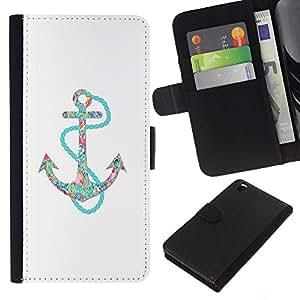 For HTC DESIRE 816 Case , Clean Floral Glitter Teal Anchor - la tarjeta de Crédito Slots PU Funda de cuero Monedero caso cubierta de piel