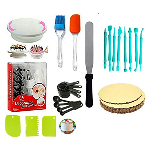 A deal Cake Making Supplies Cake Turntable & Nozzle Set & Spatula, Brush & Measuring Cup & Spoon and Pallet Knife & Scraper for Cake Board 5 Piece, 8pc Fondant Tools