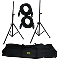 Pyle-Pro PMDK101 Heavy-Duty Aluminum Anodizing Dual Speaker Stand & 21FT Speakon Cable Kit