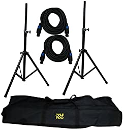 Pyle-Pro PMDK101 Heavy-Duty Aluminum Anodizing Dual Speaker Stand & 21FT Speakon Cable Kit