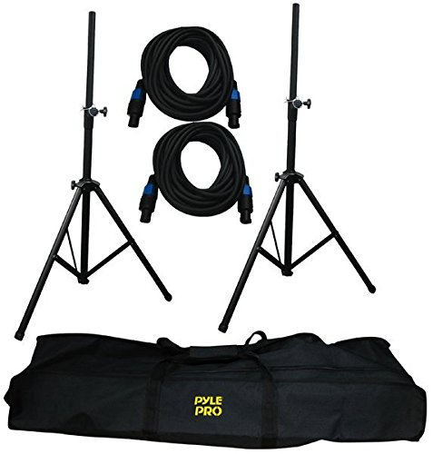 Pyle-Pro PMDK101 Heavy-Duty Aluminum Anodizing Dual Speaker Stand & 21FT Speakon Cable Kit by Pyle