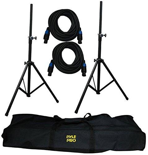 Pyle-Pro PMDK101 Heavy-Duty Aluminum Anodizing Dual Speaker Stand & 21FT Speakon Cable Kit Sound Around