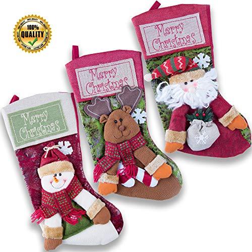XmasHub Christmas Stockings, 18 Set of 3 Santa,Snowman,Deer Xmas Holiday Characters 3D Plush Decorations Holders Gift Bag (3pcs)