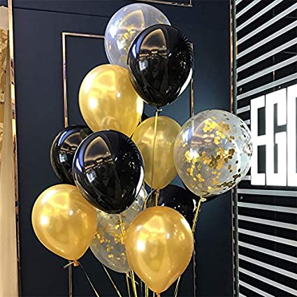 Amazon.com: Globos de látex color dorado y negro – Globos de ...