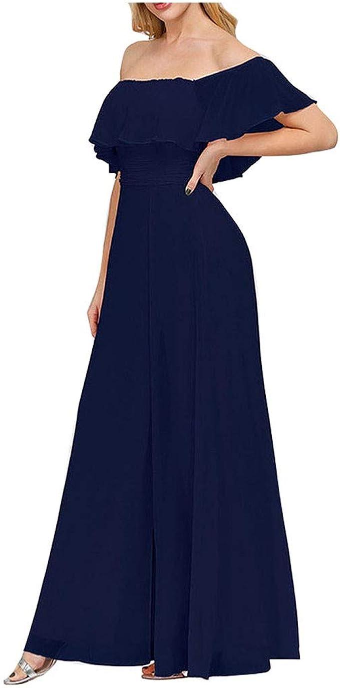 Aoogo Damen Spezielle Braut Meerjungfrau Abendkleid Schulterfrei