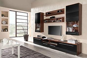 Moderne TV Wohnwand Luna In Schwarz Pflaume Hochglanz Schner Wohnzimmer Schrank