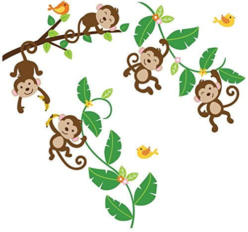 Monkeys Swinging on Vines Giant Peel & Stick Wall Art Sticker Decals (Monkey Wall Decals For Nursery)