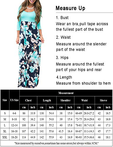 DUNEA Women's Maxi Dress Floral Printed Autumn 3/4 Sleeve Casual Tunic Long Maxi Dress Green