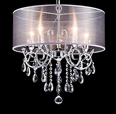 Dazhuan Modern Pendant with 5 Lights Crystal Drum Style Chandeliers, Flush Mount Ceiling Lighting Fixture