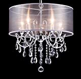 Cheap Dazhuan Modern Pendant with 5 Lights Crystal Drum Style Chandeliers, Flush Mount Ceiling Lighting Fixture