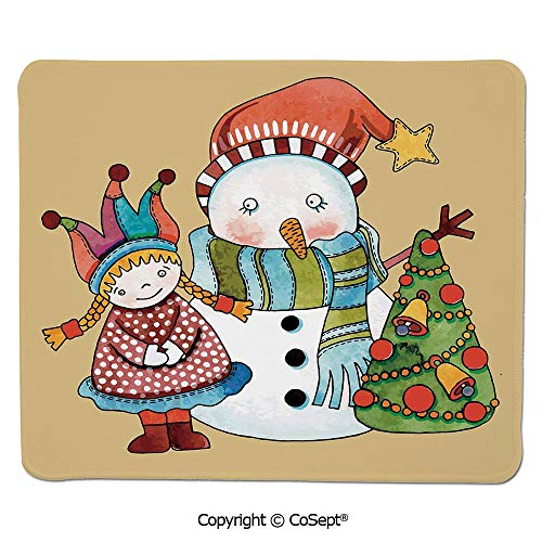 Non-Slip Rubber Base Mousepad,Cute Little Toy Girl Snowman and Xmas Tree in Watercolors Happy New Year Theme Decorative,for Computer,Laptop,Home,Office & Travel(11.81