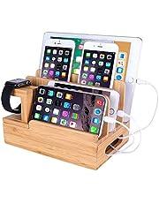 Bamboe Houten Desktop Organizer Opladen Docking Station Lader Houder Cradle Stand Compatibele iPhone 11 Pro Max XS XR X 8 7 Plus iPad 3 4 Mini Apple Watch 2 3 4 / iWatch 38 & 42mm Samsung Smartphones, bamboe hout