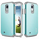 S4 Case, Galaxy S4 Case, RANZ Grey with Aqua Blue Hard Impact Dual Layer Shockproof Bumper Case For Samsung Galaxy S4 (i9500)