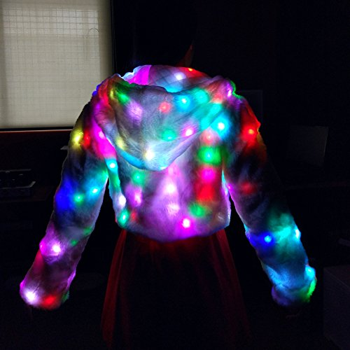 Chaleco Faux Vest Ohlees® Coat Navidad Fur Abrigo Realizar Dance Light Parte Led Up Abrigo nqzUwTx0z