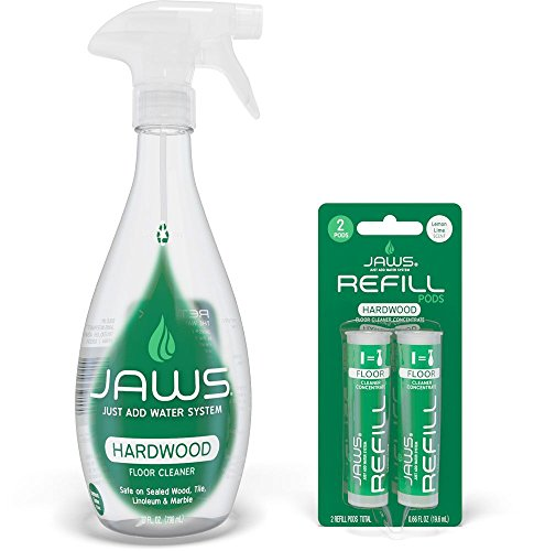JAWS Hardwood Floor Cleaner Bottle with 2 Refill Pods. Non-Toxic and Eco-Friendly Cleaning Products. Refill and Reuse.