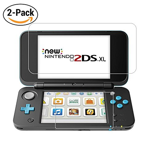 [2-Pack] Nintendo 2DS XL Screen Protector (1 Set of Tempered Glass Screen Protector + 1 Set of High Definition Screen Protector), Bubble Free