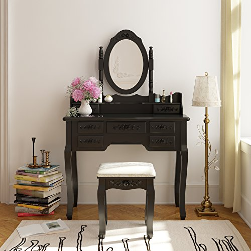 Tribesigns Wood Makeup Vanity Table Set With Mirror Stool Bedroom Dress