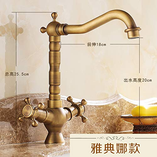 Hlluya Professional Sink Mixer Tap Kitchen Faucet The Antique Brass Faucet Antique Basin of hot and Cold Plus high to Rotate The Single Hole Double That of The Athena