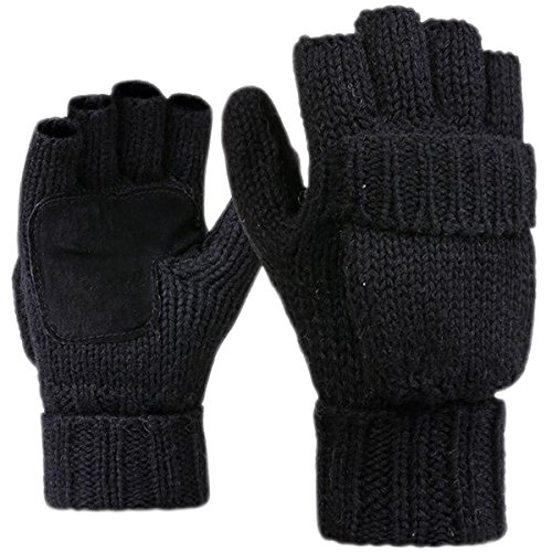 JOYEBUY Men Winter Warm Wool Knitted Convertible Fingerless Gloves With Mitten Cover (Black)